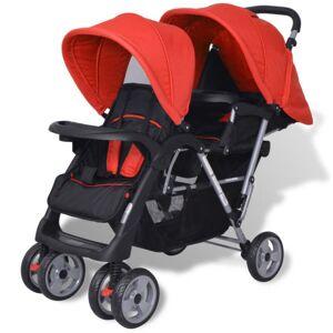Vidaxl wózek spacerowy dla bliźniąt, tandem czerwono-czarny Sto?y Wózki dla niemowląt