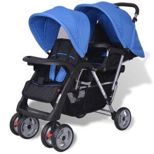 Vidaxl wózek spacerowy dla bliźniąt, tandem niebiesko-czarny Transport niemowląt Wózki dla niemowląt