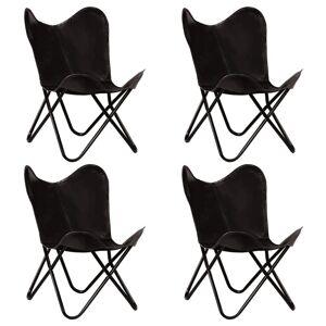 Vidaxl krzesła typu motyl, 4 szt., czarne, dziecięce, skóra naturalna Krzesła, fotele i inne siedziska Fotele