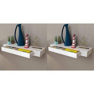 Vidaxl półki wiszące z szufladami, 2 szt., białe, 80 cm Podnoszenie materiaów Półki ścienne