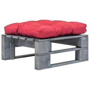 Vidaxl ogrodowe siedzisko z palet, czerwona poduszka, szare drewno Meble ogrodowe Podnóżki i stołki ogrodowe