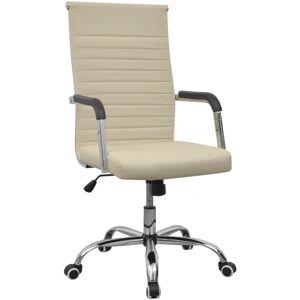 Vidaxl krzesło biurowe, sztuczna skóra, 55 x 63 cm, kremowe Meble biurowe Krzesła i fotele biurowe