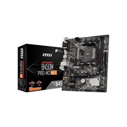 MSI Płyta główna B450M PRO-M2 MAX AM4 2DDR4 DVI/VGA/HDMI M.2 u-ATX