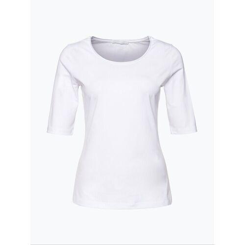 Boss - T-shirt damski z jedwabną lamówką – Emmsi, biały