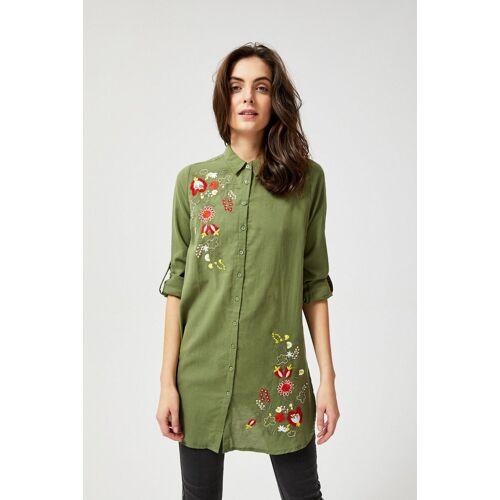 MOODO Długa koszula z kwiatowym haftem