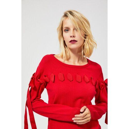 MOODO Sweter z ozdobną wstążką