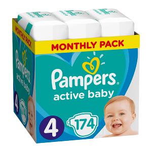 Pampers Active Baby Rozmiar 4, 174 pieluszki, 9-14 kg