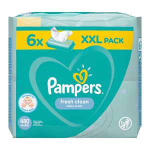 Pampers Fresh Clean Chusteczki nawilżane dla niemowląt 6 opakowań = 480 chusteczek nawilżanych