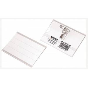 Office Products Identyfikator OFFICE PRODUCTS, z klipsem i agrafką, otwór z boku, miękki, transparentny