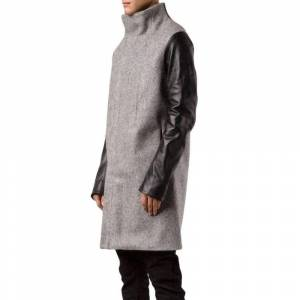Boris Bidjan Saberi Wool Coat with Leather Sleeves  - Boris Bidjan Saberi - Paszcze zimowe