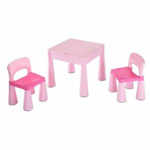 4-Home New Baby Komplet dla dzieci stolik i krzesełka 3 elem., różowy