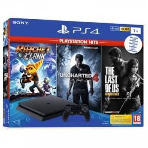 Sony Konsola SONY PlayStation 4 Slim 1TB F Chassis + Ratchet & Clank + Uncharted 4: Kres Złodzieja + The Last of Us Remastered