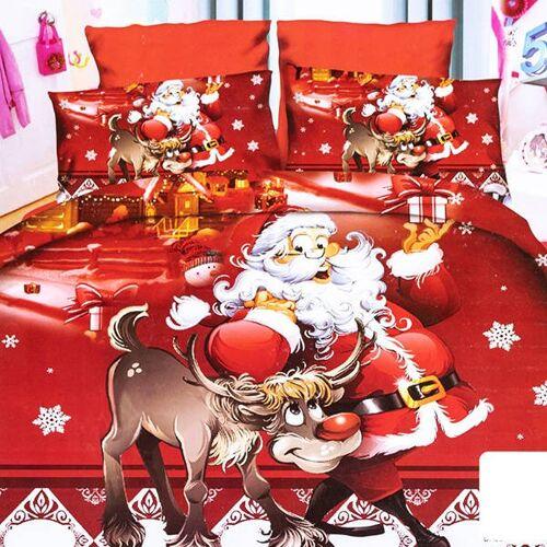 Pościel świąteczna w mikołaje 160x200 komplet 3-CZĘŚCI - Pościele