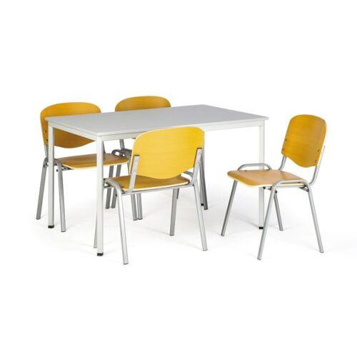 B2B Partner Zestaw stół do jadalni i stołówki, 1200x800mm, szary + 4 krzesła