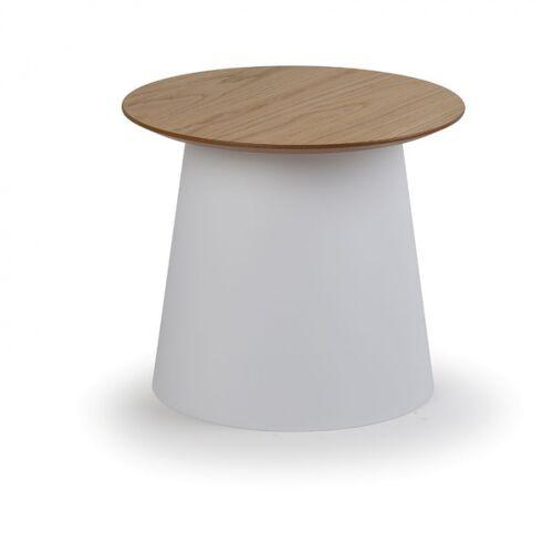 B2B Partner Plastikowy stolik kawowy seta z drewnianym blatem, średnica 490 mm,