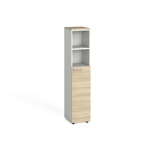 B2B Partner Szafa biurowa, drzwi na 3 półki, 1781 x 400 x 420 mm, biały/dąb