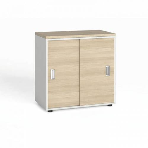 B2B Partner Szafa biurowa z przesuwnymi drzwiami, 740 x 800 x 420 mm, biały/dąb
