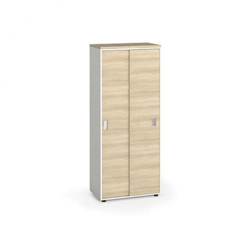 B2B Partner Szafa biurowa z przesuwnymi drzwiami, 1781 x 800 x 420 mm, biały/dąb