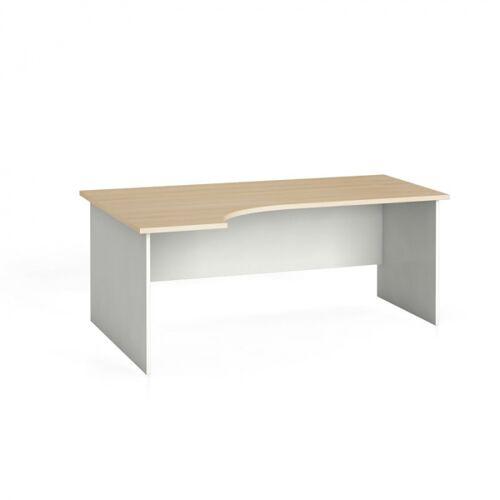B2B Partner Stół biurowy ergonomiczny 180 x 120 cm, biały/dąb naturalny, lewy