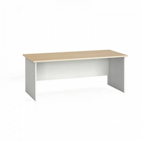 B2B Partner Stół biurowy ergonomiczny 180 x 120 cm, biały/dąb naturalny, prawy