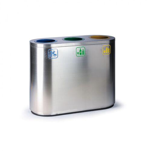 B2B Partner Kosz do segregacji śmieci, 129 l, ze stali nierdzewnej