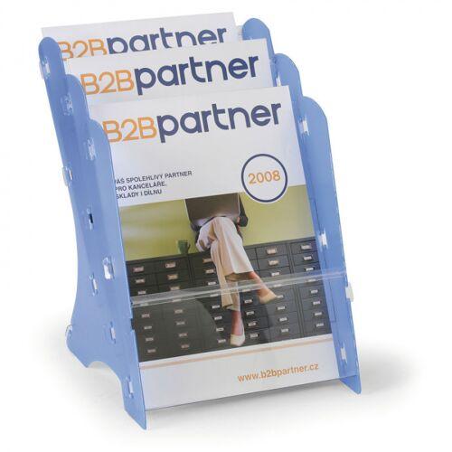 B2B Partner Plastikowy stojak na ulotki, stołowy, 3x a4, szary