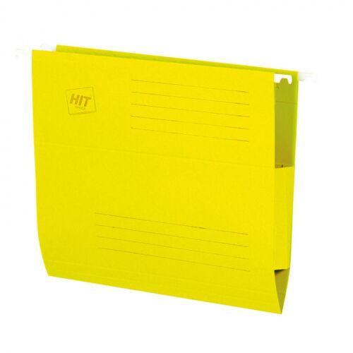 HIT Office Teczki zawieszane z bocznymi zabezpieczeniami, żółte, 50 szt.