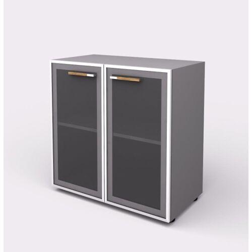 B2B Partner Szafa - szklane drzwi, 798 x 425 x 800 mm, szary