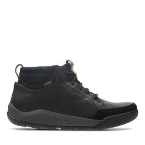 Clarks Walking Boots - Ashcombe Mid GTX Black Leather  - male - Black Leather - Size: 40