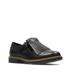 Clarks Flat Shoes - Griffin Mia Black leather  - female - Black leather - Size: 39.5