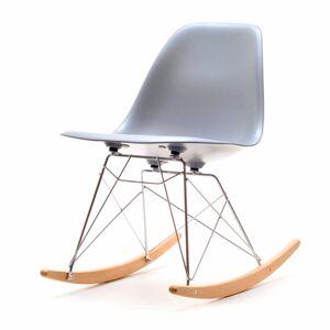 SELSEY Krzesło bujane Adirale szare na stalowych nogach z drewnianymi płozami