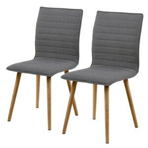 SELSEY Zestaw dwóch krzeseł tapicerowanych Prolaz szare