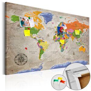 SELSEY Tablica korkowa Mapa świata: Styl retro