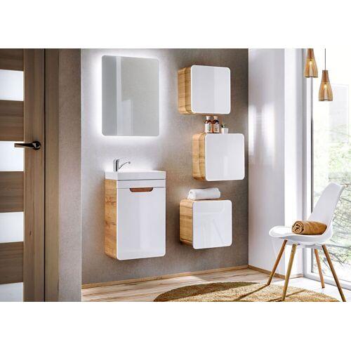 Producent: Elior Nowoczesny zestaw mebli łazienkowych Borneo 2Q 40 CM - Biały połysk