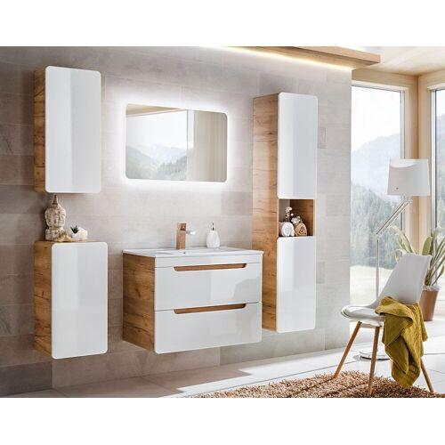 Producent: Elior Zestaw podwieszanych mebli łazienkowych Borneo 3Q 80 cm - Biały połysk