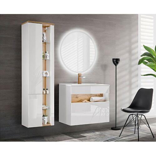 Producent: Elior Zestaw mebli łazienkowych z oświetleniem LED Monako 2Q 80 cm - Biały połysk