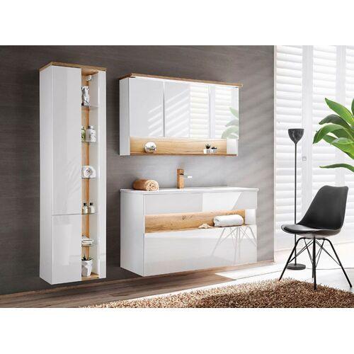 Producent: Elior Zestaw mebli łazienkowych z oświetleniem LED Monako 3Q 120 cm - Biały połysk