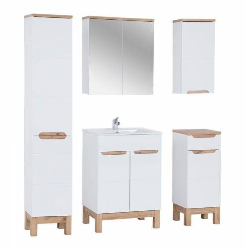 Producent: Elior Zestaw mebli łazienkowych z koszem Marsylia 3Q 60 cm - Biały połysk