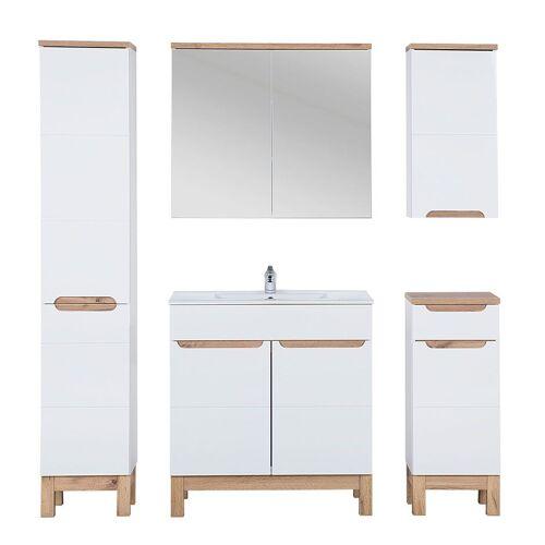 Producent: Elior Zestaw mebli łazienkowych z koszem Marsylia 3Q 80 cm - Biały połysk