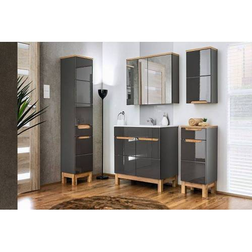 Producent: Elior Zestaw lakierowanych mebli łazienkowych - Marsylia 2Q Grafit połysk 80 cm