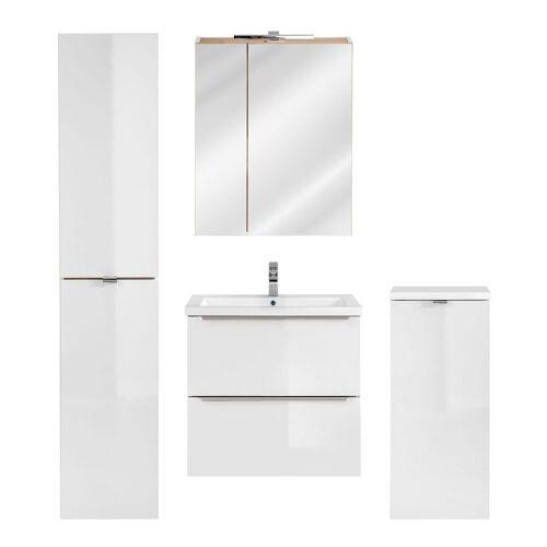 Producent: Elior Zestaw podwieszanych szafek łazienkowych - Malta 2Q Biały połysk 60 cm