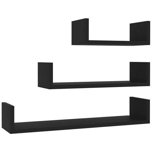 Elior Zestaw czarnych półek ściennych - Baffic 3X