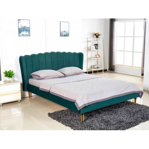 Producent: Elior Podwójne łóżko glamour Rita - zielone