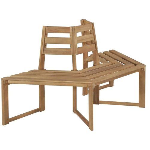 Elior Drewniana ławka pod pień drzewa Lumac - brązowa