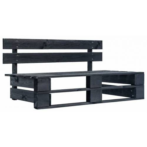Elior Czarna ławka ogrodowa z palet - Bradley 2X