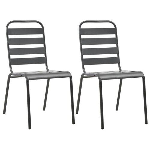Elior Zestaw metalowych krzeseł ogrodowych Mantar - szary