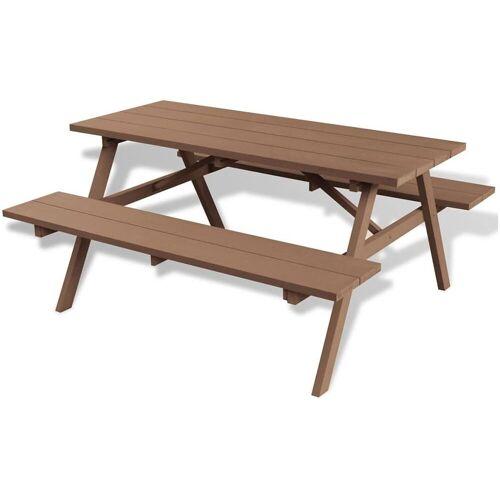 Elior Stół ogrodowy z ławkami Hint - brązowy