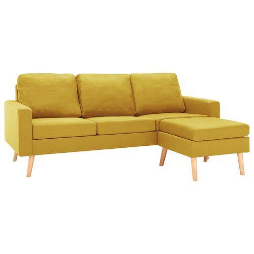 Elior 3-osobowa żółta sofa z podnóżkiem - Eroa 4Q