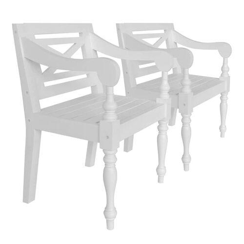 Elior Mahoniowe krzesła tarasowe Amarillo 2 szt - białe