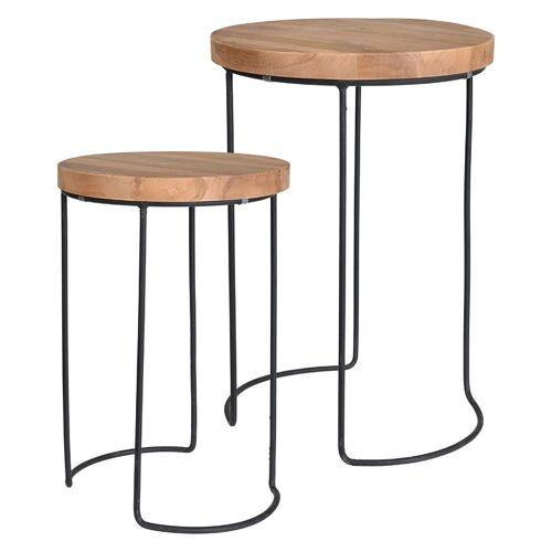 Producent: Elior Zestaw loftowych stolików kawowych Zama - naturalne